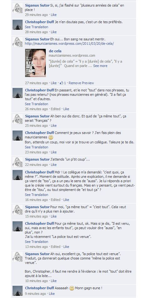 Une discussion sur Facebook...